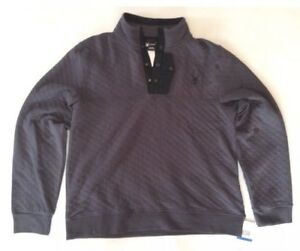 Men's Spyder Quilted Button Pullover Sweater Ski Charcoal Grey Size Large $149