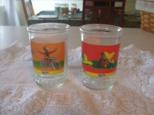 CURIOUS GEORGE Vintage 1980s Welch's Jelly Jar SET/Glass #1 And #2/VG+
