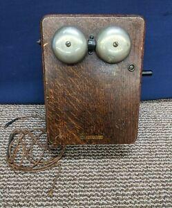 Kellogg SS Generator Hand Crank Ringer Ring Box Wood Wall Hang Phone 3 Magneto