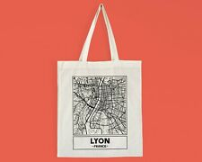 Lyon, France, City Street Map Cotton Tote Bag [Pick a Design Style]
