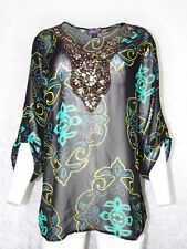 Hale Bob 1X Plus Size Womens Sheer Blouse Beaded Damask