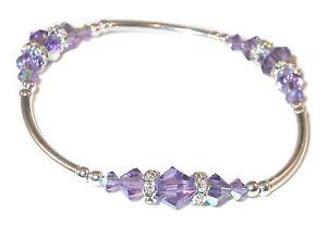 TANZANITE PURPLE Crystal Bracelet Sterling Silver Handcrafted Swarovski Elements