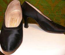 1920-30 High Quality Black Silk Satin Evening Shoe Neiman Marcus Pumps 5