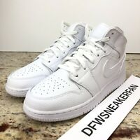 Nike Air Jordan 1 Mid Size 7Y / Women's 8.5 Triple WhiteShoes 554725 130