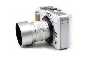 Silver 50mm f1.4 CCTV Lens C mount for M43 Micro 4/3 Olympus Panasonic Camera