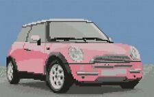 """Mini Cooper pink Complete Cross Stitch Kit 10""""x6"""""""