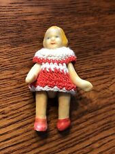 """Vintage Miniature Bisque 2.25"""" Doll With Crotched Outfit Articulated Arms + Legs"""