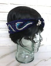 Vintage Black Navy Blue Velvet Headband With Sequins And Pearl Beading Turban