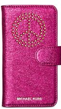 MICHAEL KORS NWT STUDDED IPHONE 7 FOLIO CASE ULTRA PINK LEATHER GLITTER PEACE