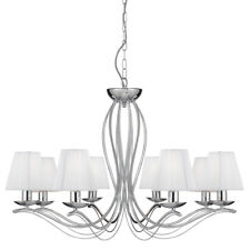 Searchlight 8 Lights Traditional Chrome Cream Shades Ceiling Pendant Chandelier