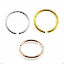 Nose Rings 9k Carat Genuine Gold Set of 3 Rose Yellow and White Hoops 22g 6mm
