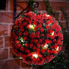 28CM SOLAR POWERED TOPIARY BALL 20 LED LIGHT ROSE FLOWER GARDEN HANGING BALL RED