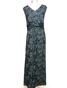 WOMEN'S  'TOGETHER' KNOT DETAIL MONOCHROME PRINTED MAXI DRESS SIZE 20 BNWT