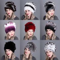 Ladies Girls Winter Warm Hats Rex Rabbit Hat Fur Cap Beanie Knitted Thick Caps