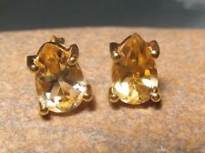 Sterling silver & 18k gold plate 9x6mm CUT CITRINE STUD earrings. Gift bag.