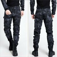 Mens Military Trousers Camo Combat Army Cargo Work Outdoor Long Pocket Pants XYW