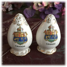 Canada Crest Salt and Pepper Shakers Made in England Gold Trim 1930s