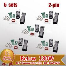 5 Sets Deutsch 2-Pin DT Connector Kit  Male & Female18-16 Ga Contact Below 180W