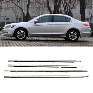 4x Chrome Weatherstrip Window Moulding Trim Seal Belt For 2008-2012 Honda Accord