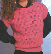 Ladies Pretty Sleeveless Lace + Cable Top 4Ply Knitting Pattern