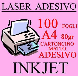 Carta Cartoncino A4 100 Fogli Bianco Adesivo Matto 80 gr Stampante Laser Inkjet