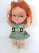 "Vintage Holiday Fair 1963 Vinyl Doll 8"" Redhead Freckles Laughing Hong Kong"