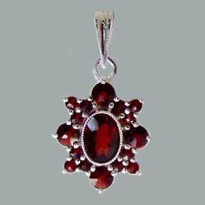 Bohemian Rose Cut Garnet Sterling Silver Pendant SP-098 with Jewelry Certificate