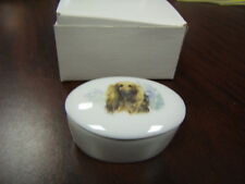 Afghan Hound Dog oval ceramic trinkett box