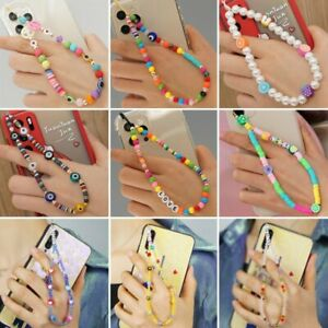 Fashion Acrylic Mobile Phone Strap Colorful Eye Beaded Rope Hanging Phone Chain