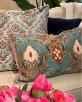 Pottery Barn Sakura Lumbar Pillow Cover Blue 16x26 Embroidered Ikat