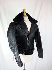 Black Leather Stockaid Custom Made Motorcycle Jacket Coat w/ Faux Fur
