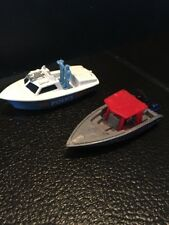 B33) MATCHBOX Speedboat SEA POLICE 911 Blue Gray Red & Police Launch HTF