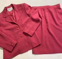 Vintage Oleg Cassini Woman's Skirt Suit Hot Pink Lined Size 10