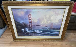 """Golden Gate Bridge, San Francisco"" Thomas Kinkade 24x36 Canvas 3049/3950 w/ COA"