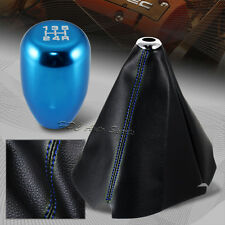 Blue Stitch Leather Manual Shift Boot + TR Blue 5-Speed Shifter Knob Universal 5