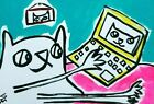 """ACEO Original """"Laptop In Bed Cat"""" Acrylic 2.5 x 3.5 Painting Samantha McLean"""