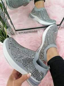 Grey Crystal Sock Trainers Crystals Sparkly sizes 3 - 8 Comfy Cushioned Bling