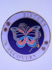 SOBRIETY MEDALLION - SISTERS IN RECOVERY - ENAMELED - BUTTERFLY DESIGN