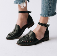 Women Vintage Pointed Toe Cutout Flats Chunky Buckle Sandal Casual Fashion Shoes