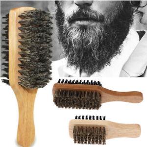 Men Boar Bristle Hair Brush-Natural Wooden Wave Brush Styling Beard Hairbrush-/*