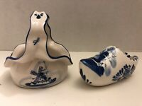 Vintage Ceramic Delft Blue Fluted Basket & Elesva Holland Shoe Clog Ashtray