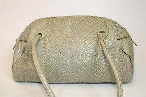 Judith Leiber Vintage Cross Stitch Snake Skin Womens Zip Top Satchel Tote Bag