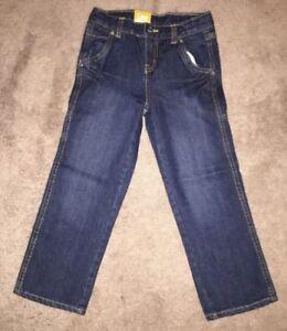 Boys Lee Premium Select Straight Leg Dark Blue Jeans Adjustable Waistband Size 6