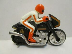 VINTAGE PLASTIC FRICTION MOTORCYCLE W/RIDER