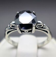 1.32cts 7.39mm Real Natural Black Diamond Size 5 Scroll Ring & $850 Value