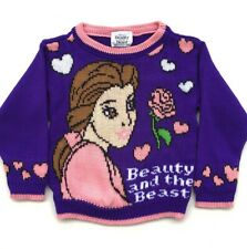 Vintage 90's Youth Beauty And The Beast Knit Sweater Size Small 2T Disney Movies