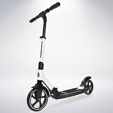 Exooter M7Wt Manual Kids Kick Scooter With Dual Suspension Shocks In White.