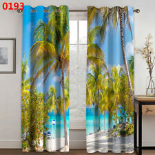 3D Window Curtain Coconut Tree Beach Curtains Living Room Bedroom Drapes