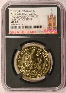 2017 Great Britain £100 Queen's Beast Dragon 1 oz Gold Coin - NGC MS 70 FDOI