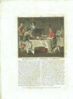 17TH OLD PRINT ANTIQUE ORIGINAL COLOR GRAVURE GENEROSITY CARDINAL D'AMBOISE 1788